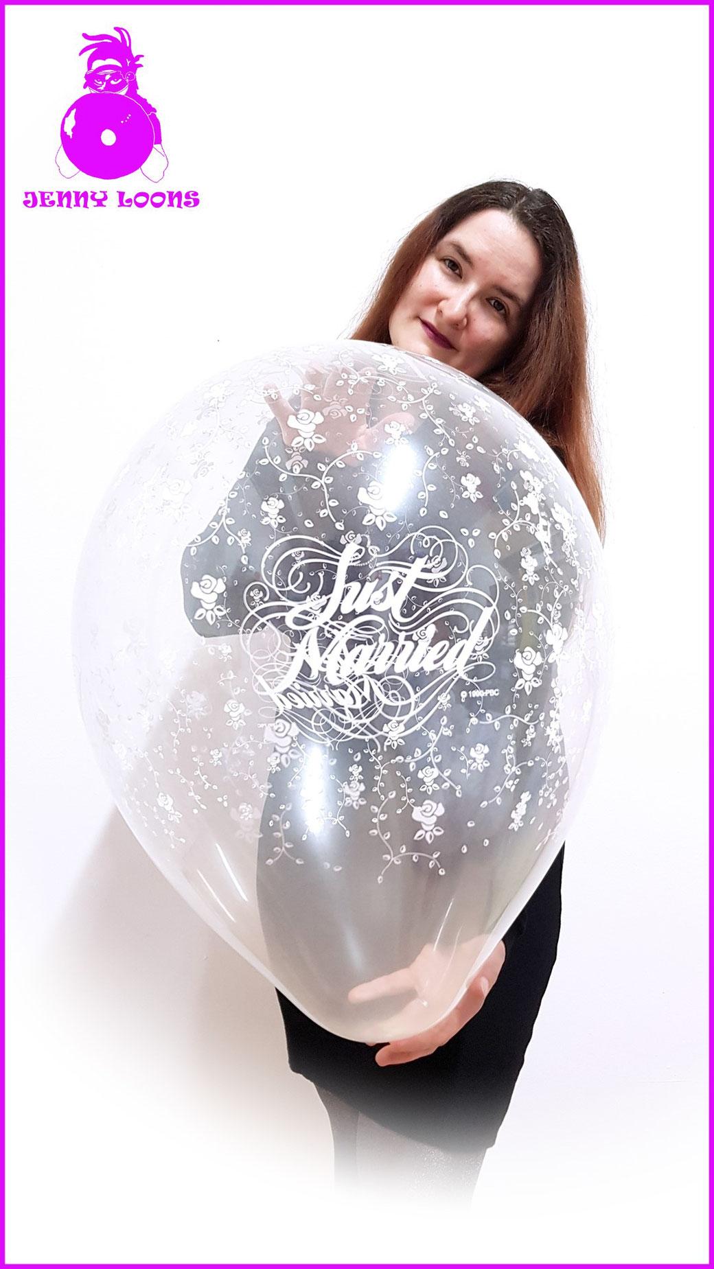 Qualatex Luftballon Ballon Hochzeit Marriage 16inch 40cm love wedding klar clear just married Balloon Balloons