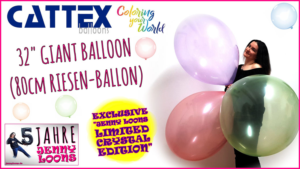 """JENNY LOONS NEW NEU RIESENBALLONS GIANT BALLOONS CATTEX 32"""" 32 inch Crystal Kristall EXKLUSIV EXCLUSIVE"""