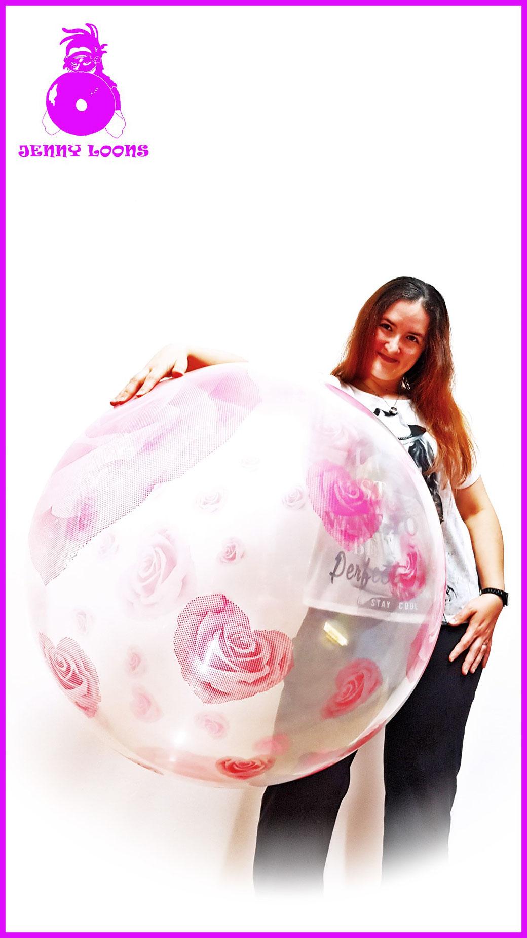 JENNY LOONS CATTEX 32inch 81cm Riesenballon Giant Balloon Herzen Rosen Herzrosen Hearts Roses Heartroses
