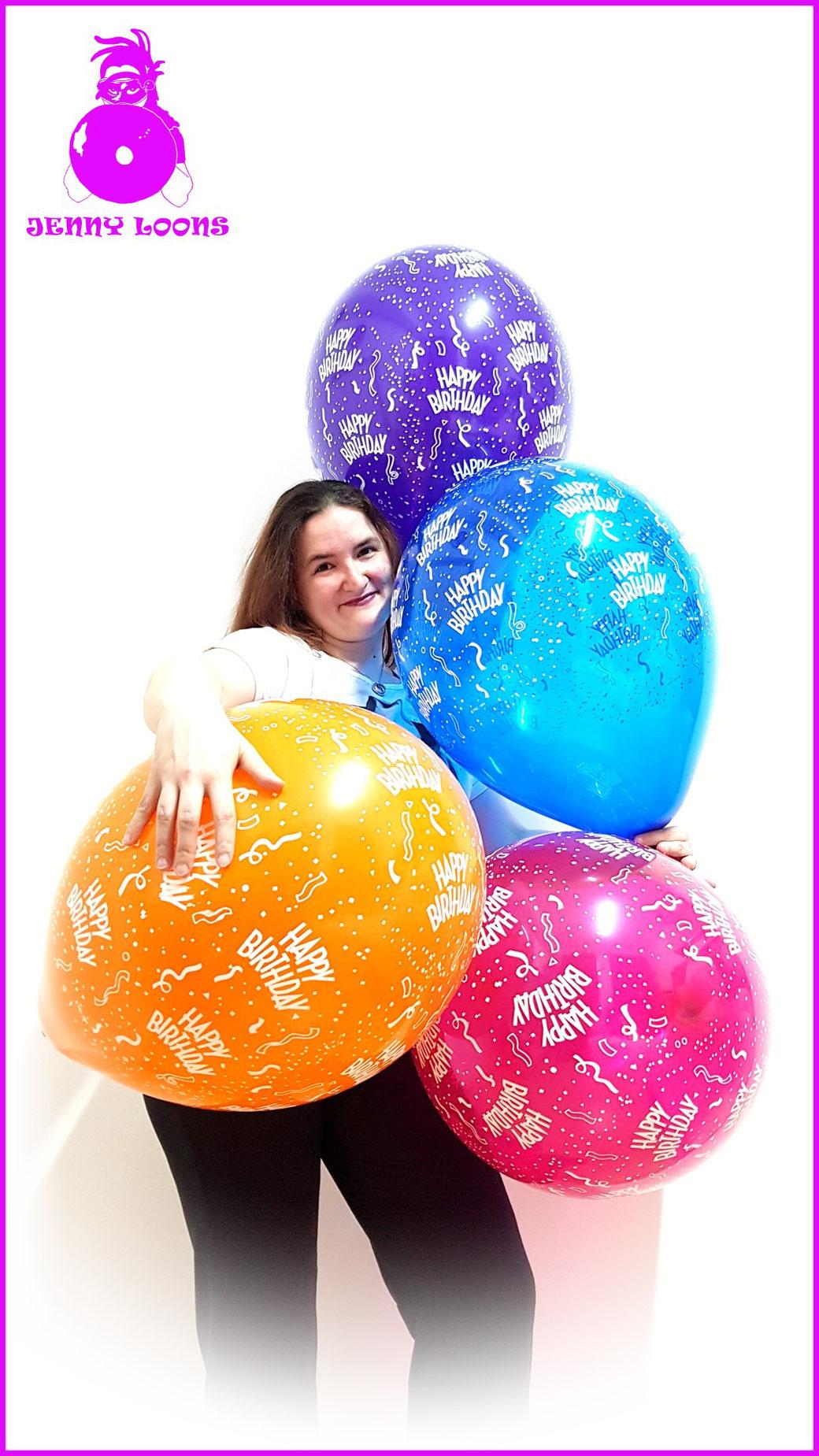 Qualatex Luftballon Ballon Happy Birthday Geburtstag 16inch 40cm pink blau lila purple blue orange Balloon Balloons