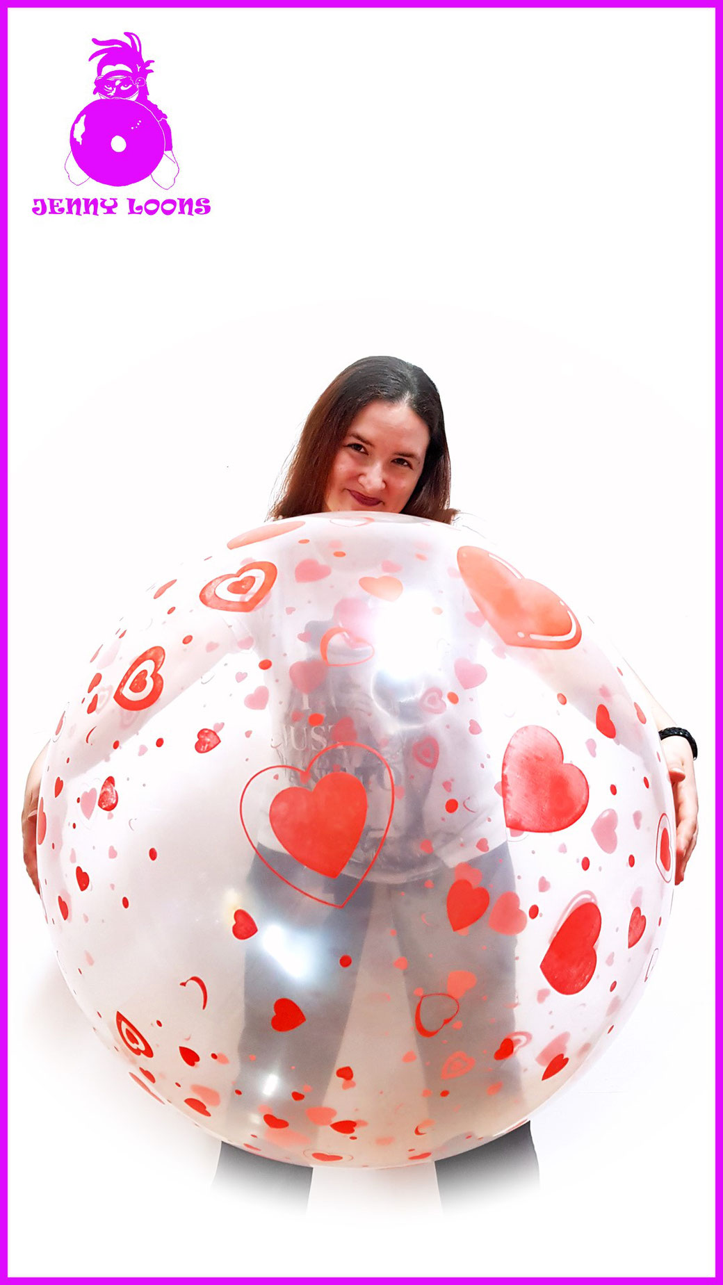 JENNY LOONS CATTEX 32inch 81cm Riesenballon Giant Balloon rote Herzen red hearts