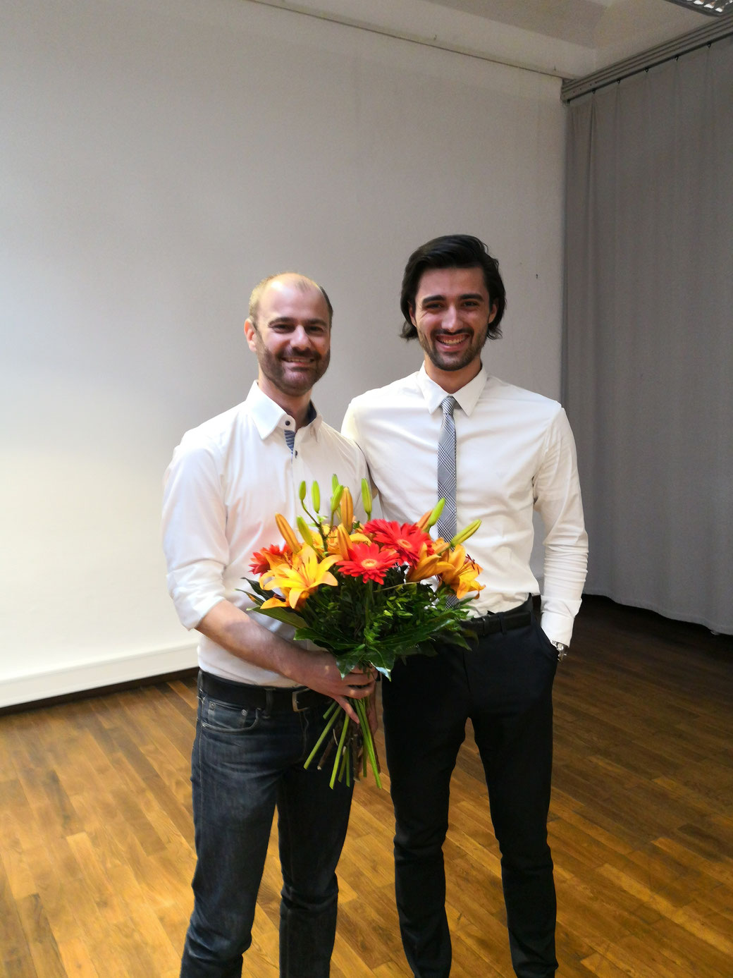 Im Bild: Matthias Dornhuber und Kevin Kienle, Vorsitzender SPD Muggenhof-Doos