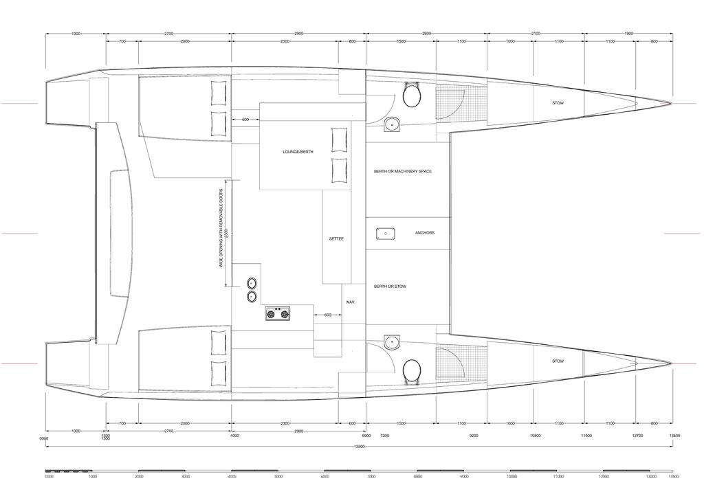 Accommodation Plan for Raku 43 Catamaran