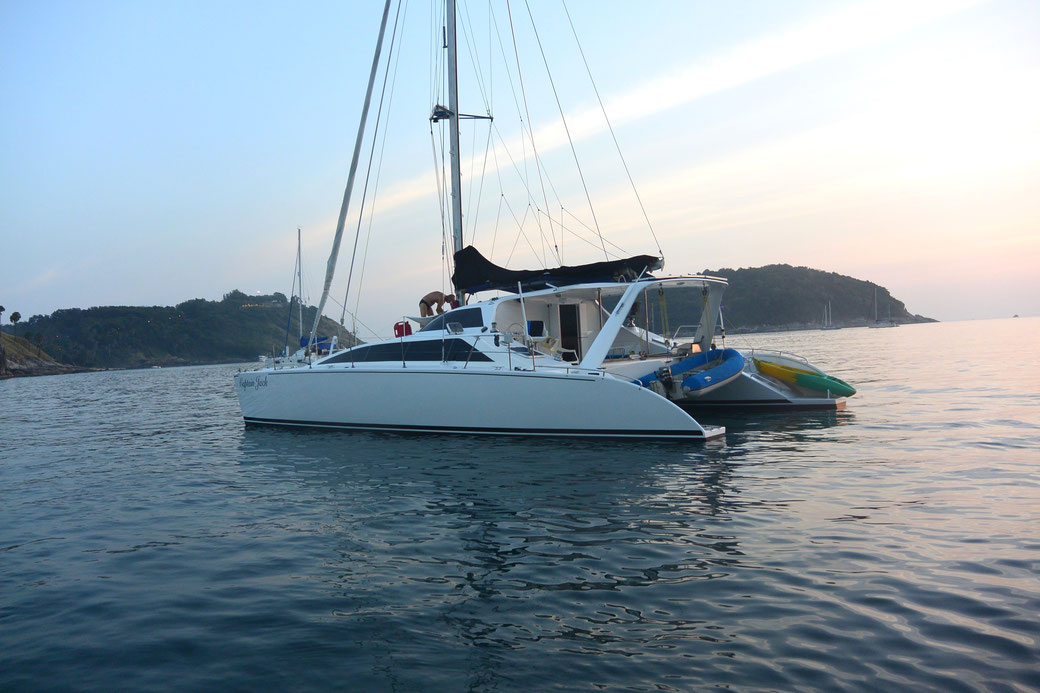 Chincogan 40 cruising cat Captain Jack in Nai Harn