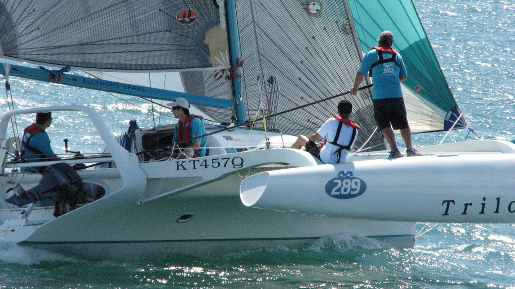 Trimaran Trilogy racing in the Brisbane to Gladstone Race