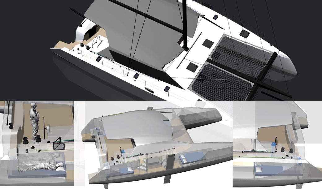Raku 48 Arrangement for sail controls in the cockpit