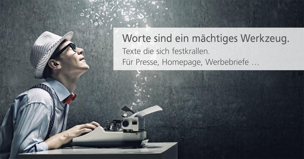 Professionell texten für Presse, Homepage, Werbebriefe, Flyer und viele weitere Produkte.