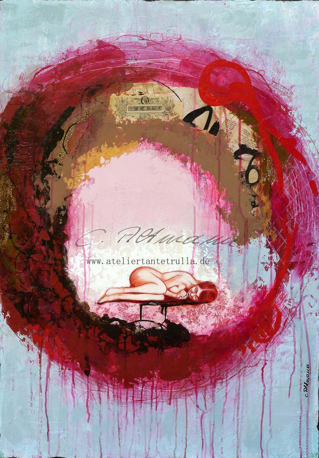 abstraktes rotes Gemaelde mit schlafendem Maedchen im Nest