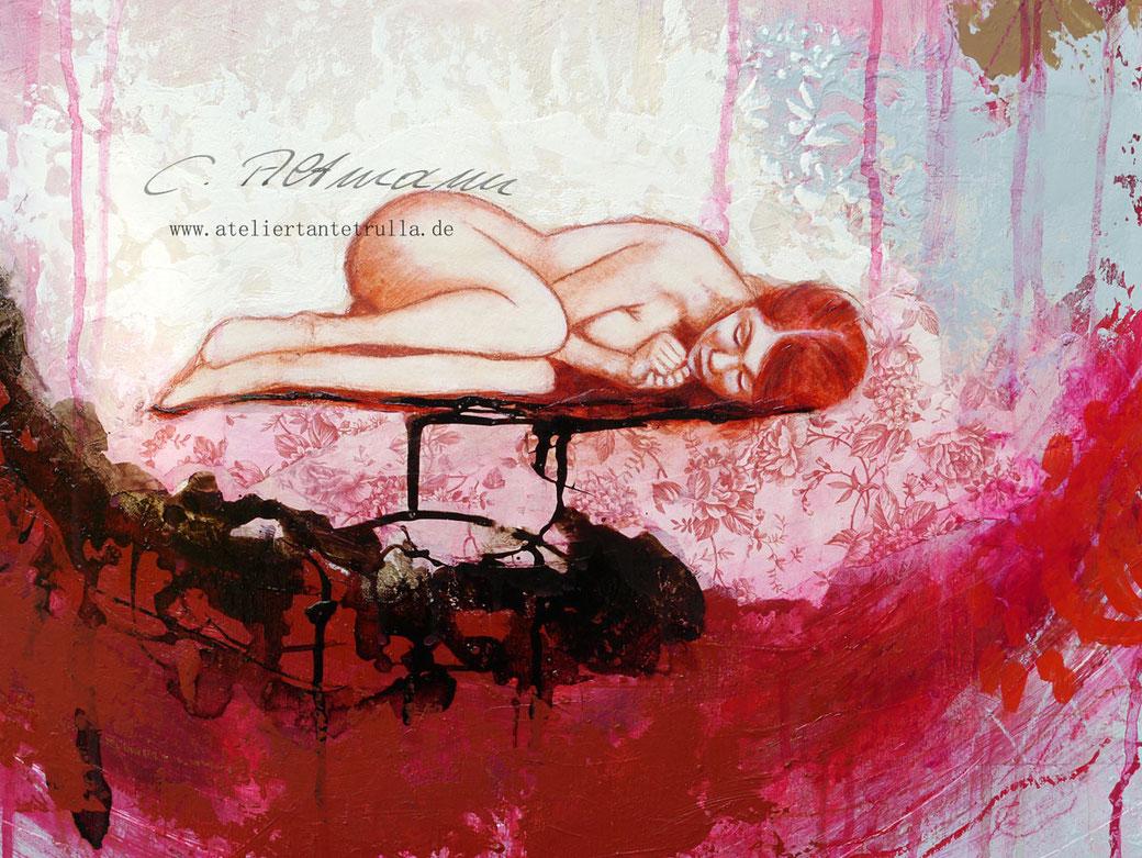 abstraktes gemälde mit schlafendem mädchen im nest von Conni Altmann