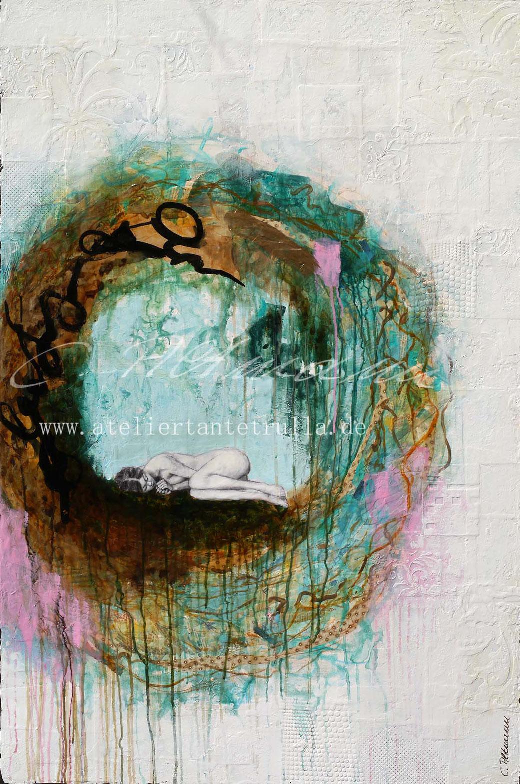 abstraktes Gemälde mit schlafendem Mädchen in einem Nest