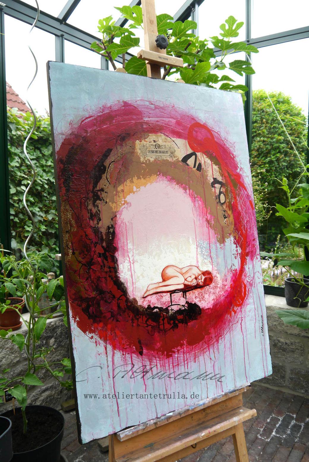 abstraktes Gemälde mit Figur von Conni Altmann