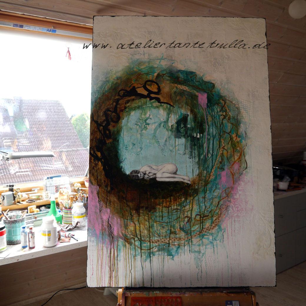 abstraktes Gemälde Mädchen liegt im Nest