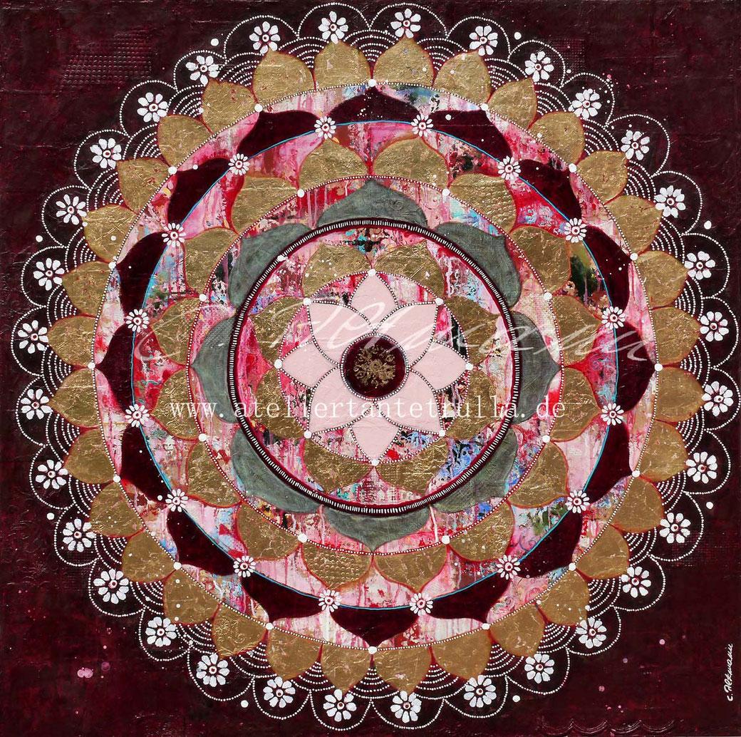 Mandala-Gemälde mit Blattgold