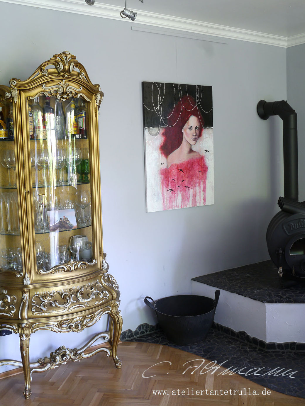 abstraktes Gemälde Portrait Frau mit roten Haaren und Vögeln