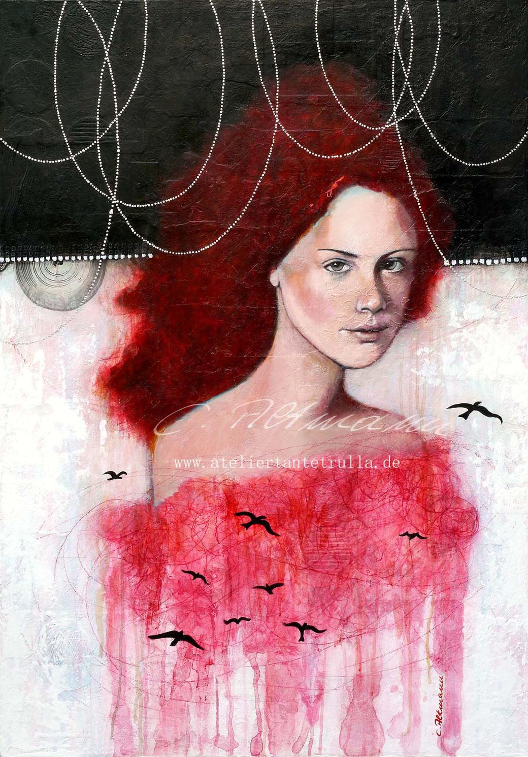 Gemälde Portrait Frau mit Blattsilber