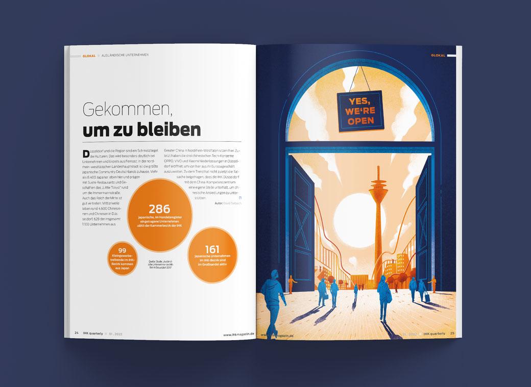 Halbe Magazinseite mit corona-odyssee illustration