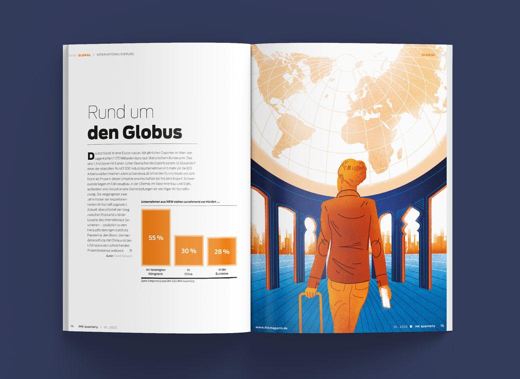 doppelseite mit illustration von kriegern und zyklop