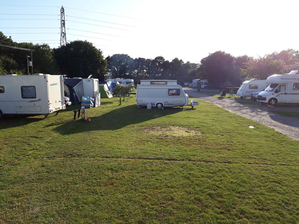 Auf dem Campingplatz sind (Ausblick von unserem Wohnzimmer nach Westen) sieben neue Fahrzeugobjekte  seit gestern hinzugekommen...