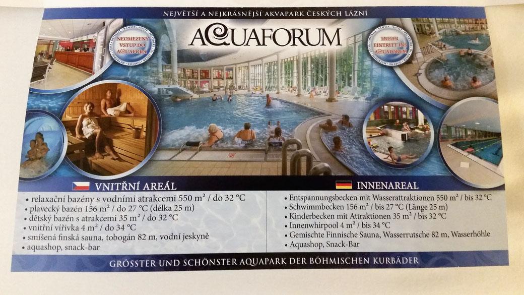 Natürlich ist in den Preisen auch der Eintritt ins Aquaforum enthalten...