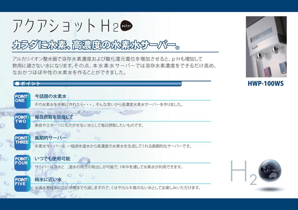 高濃度水素水サーバー「アクアショット H2」説明画面