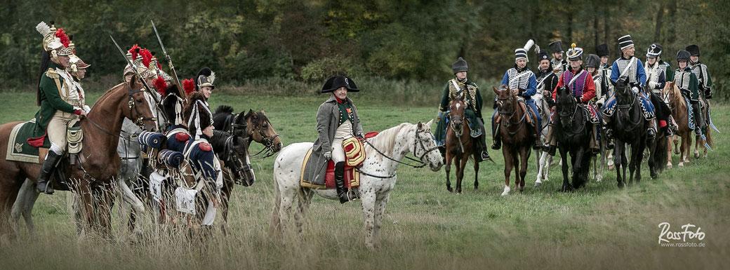 Bayerische Ulanen, Kavalleriereiter reiten zur Schlachtnachstellung Bitwa pod Komarowem, RossFoto Dana Krimmling