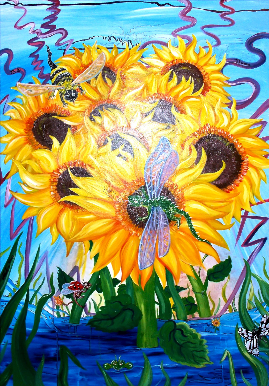 Sonnenblumendrache Acryl/Eddingmix auf Leinwand 100x90cm
