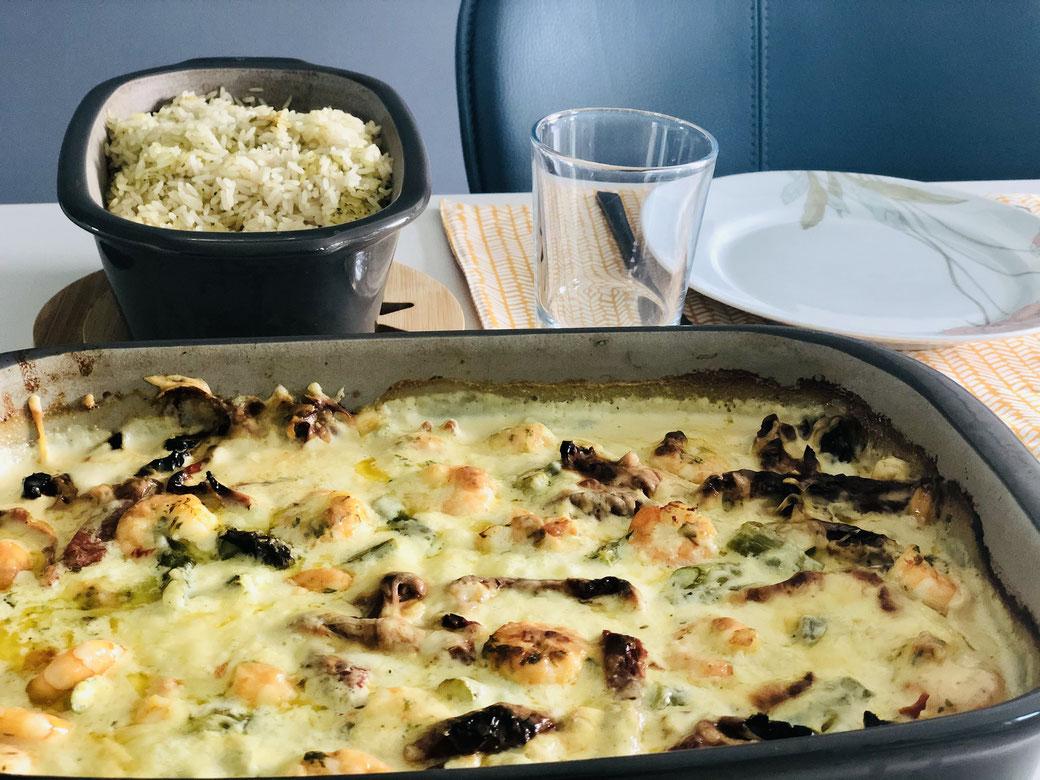 Ein komplettes Menü aus dem Backofen - Grüner Spargel mit Garnelen und Reis als Beilage