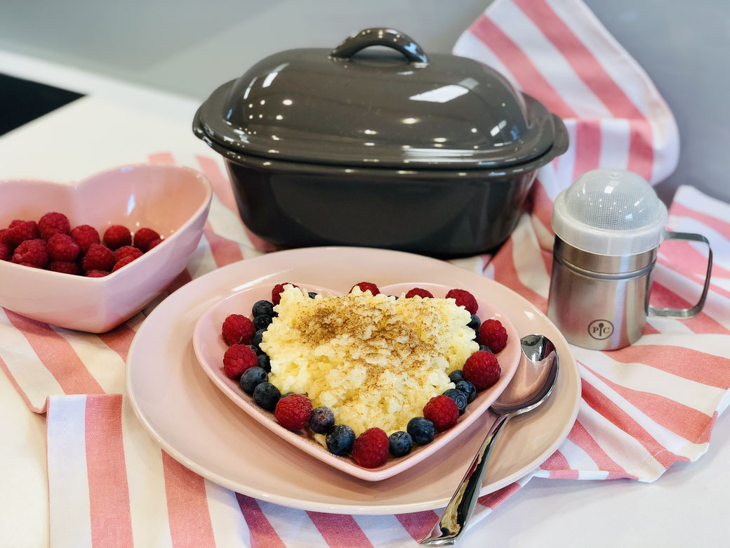 Milchreis im Backofen zubereitet - entweder wie hier im kleinen Zaubermeister oder Rezept verdoppeln im Ofenmeister von Pampered Chef®