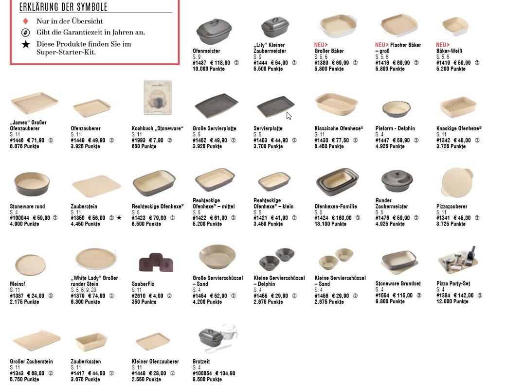 Flyer über alle Stoneware Produkte von Pampered Chef® - alles auf einen Blick...