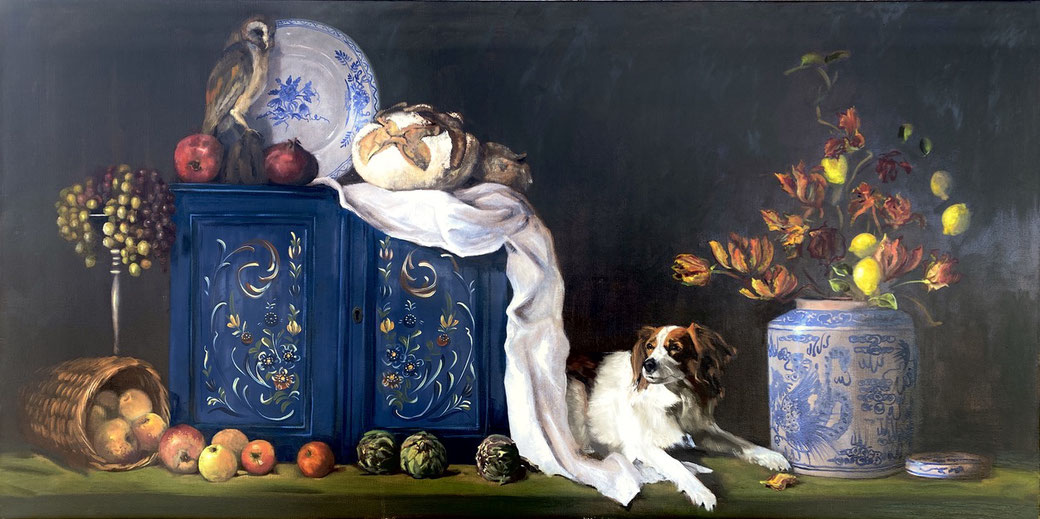 Still life with dog and owl, commission, oil on canvas 100x200cm