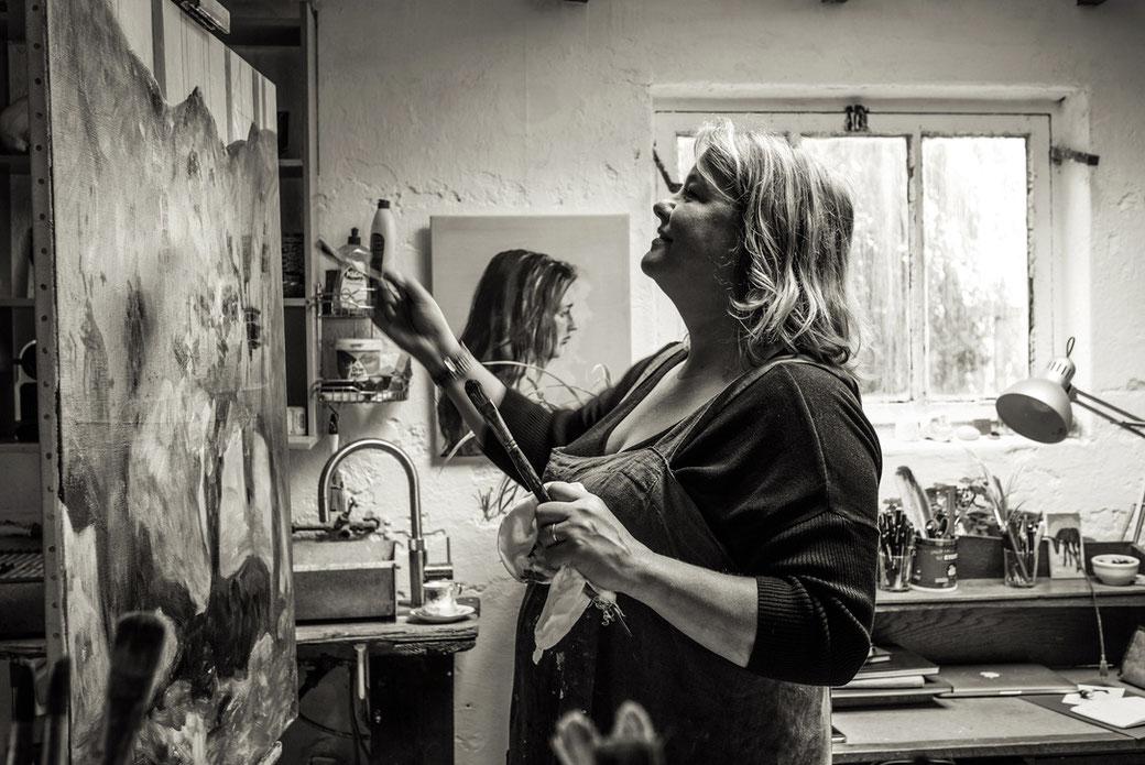 Artist Philine van der Vegte at work in her studio