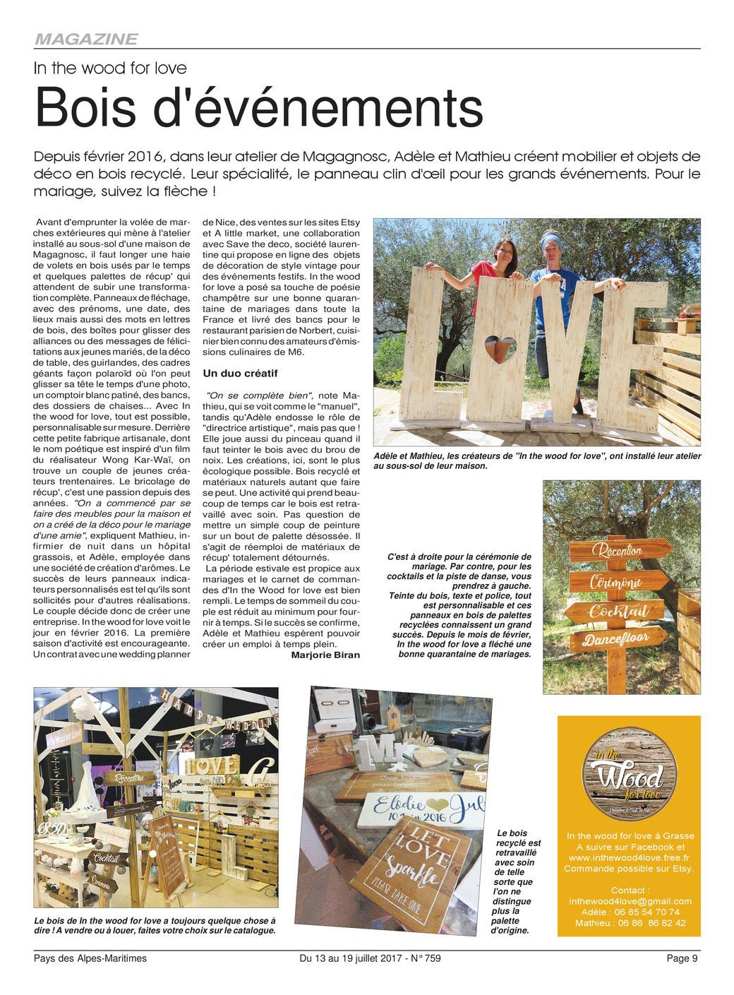 Article paru cet été dans l'hebdo des Alpes-Maritimes