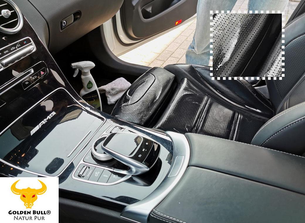 Premium Lederreiniger und Lederpflege vom Profi. Reinigung und Pflege von perforiertem Sport Ledersitz. Mercedes Autoleder professionell reinigen und pflegen mit Golden Bull.