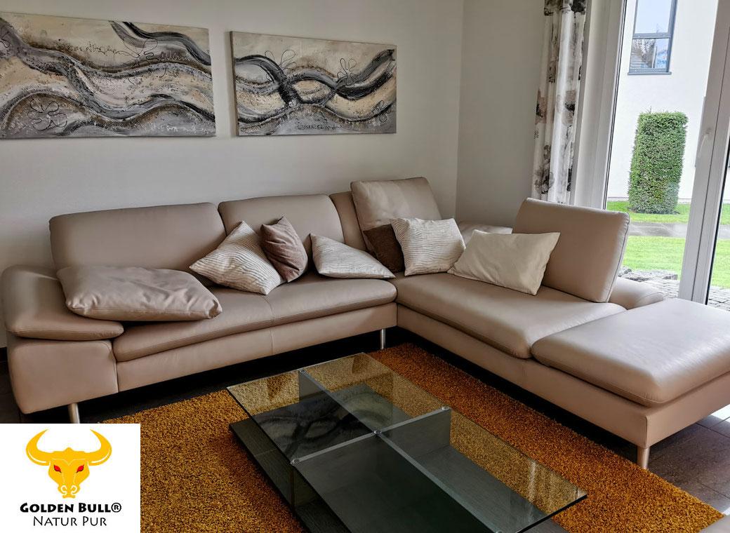 Ledercouch professionell reinigen und pflegen mit dem Golden Bull Foam Cleaner. Bei der Anwendung in geschlossenen Räumen entstehen keine unangenehmen Gerüche.