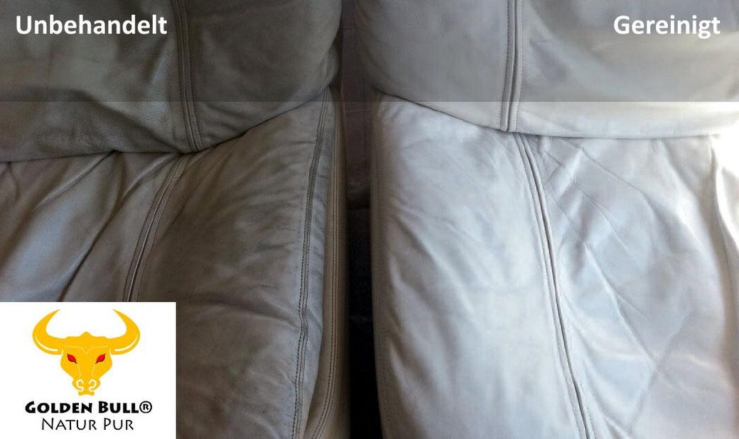 Dreckige Ledersitze reinigen und pflegen mit dem Lederreinigungsmittel Golden Bull® Foam Cleaner.
