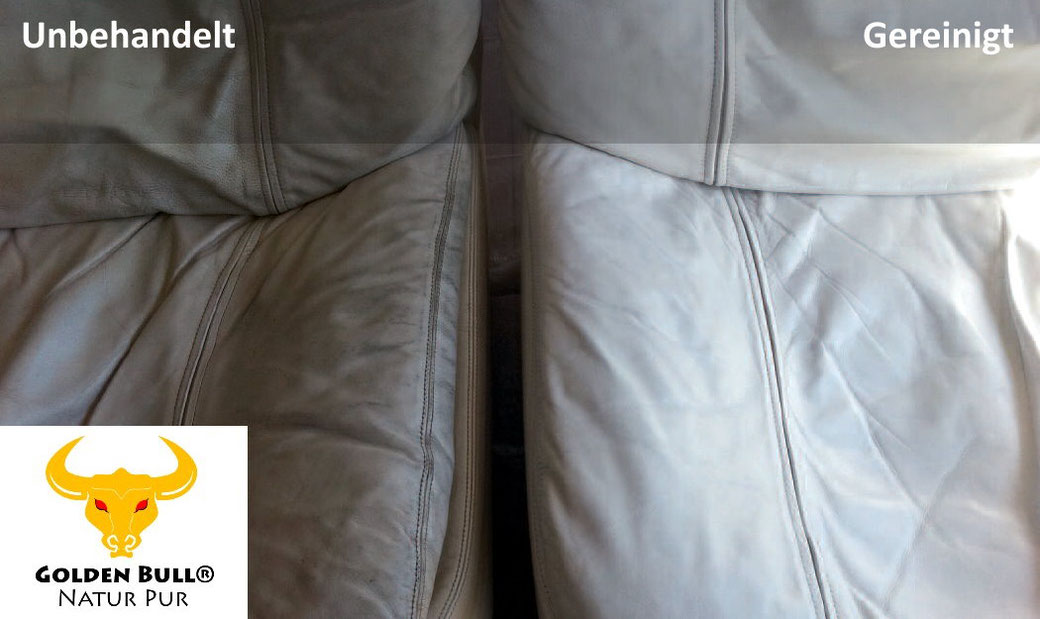 Dreckige Ledersitze reinigen und pflegen mit dem Lederreinigungsmittel Golden Bull Foam Cleaner.