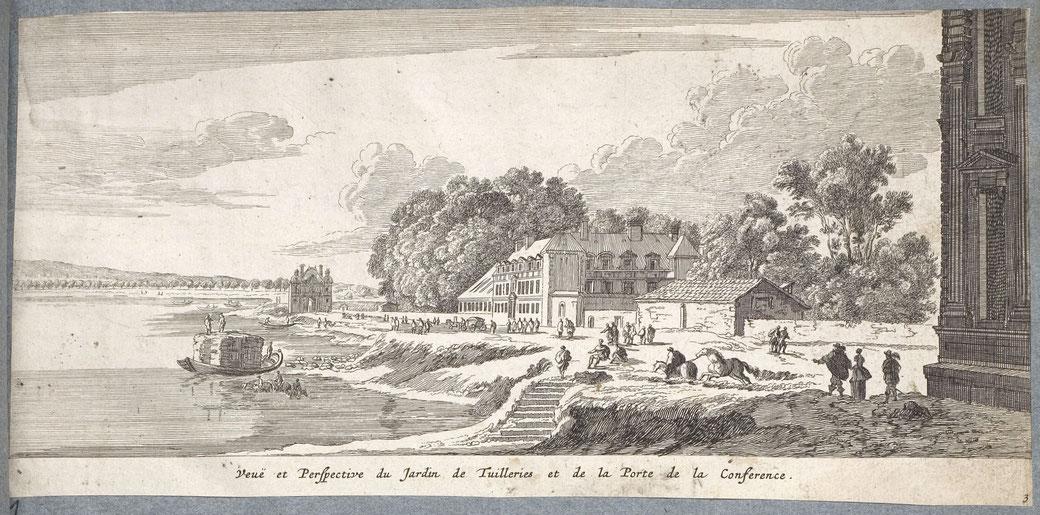 Porte de la Conférence et jardin des Tuileries.
