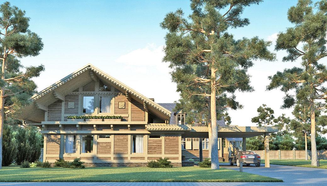 ле шале 124 кв.м, строительство шале под ключ, проект дома шале, шале из клееного бруса, шале с мансардой
