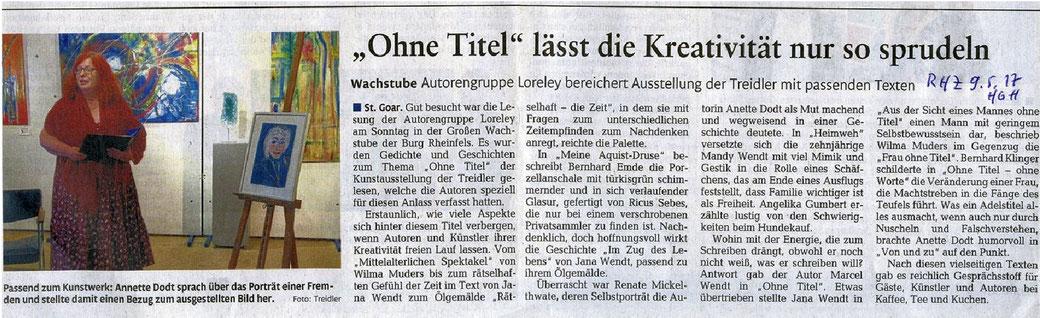 erschienen in der Rhein-Hunsrück-Zeitung am 9. Mai 2017, verfasst (gekürzt) von Jana Wendt