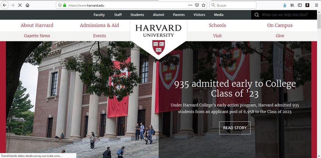 Sitio Web de la Universidad de Harvard.
