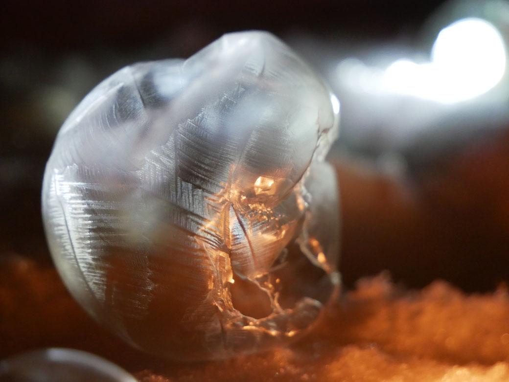 gefrorene Seifenblase mit Naturwesen in der Nacht