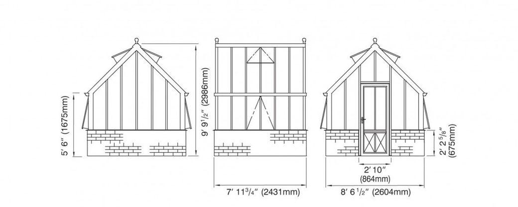 Englisches Gewächshaus Konstruktionszeichnung Paxton