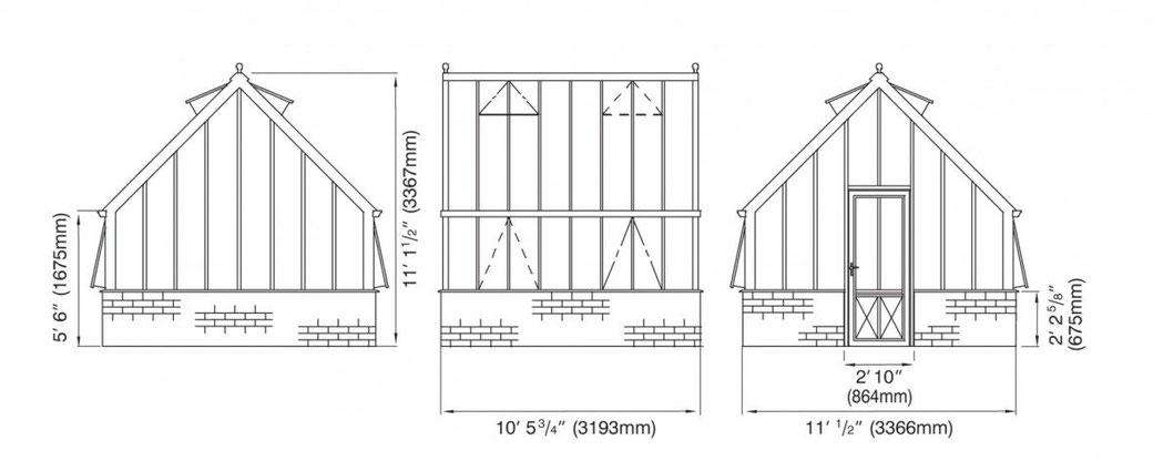 viktorianisches Gewächshaus Konstruktionszeichnung Capability