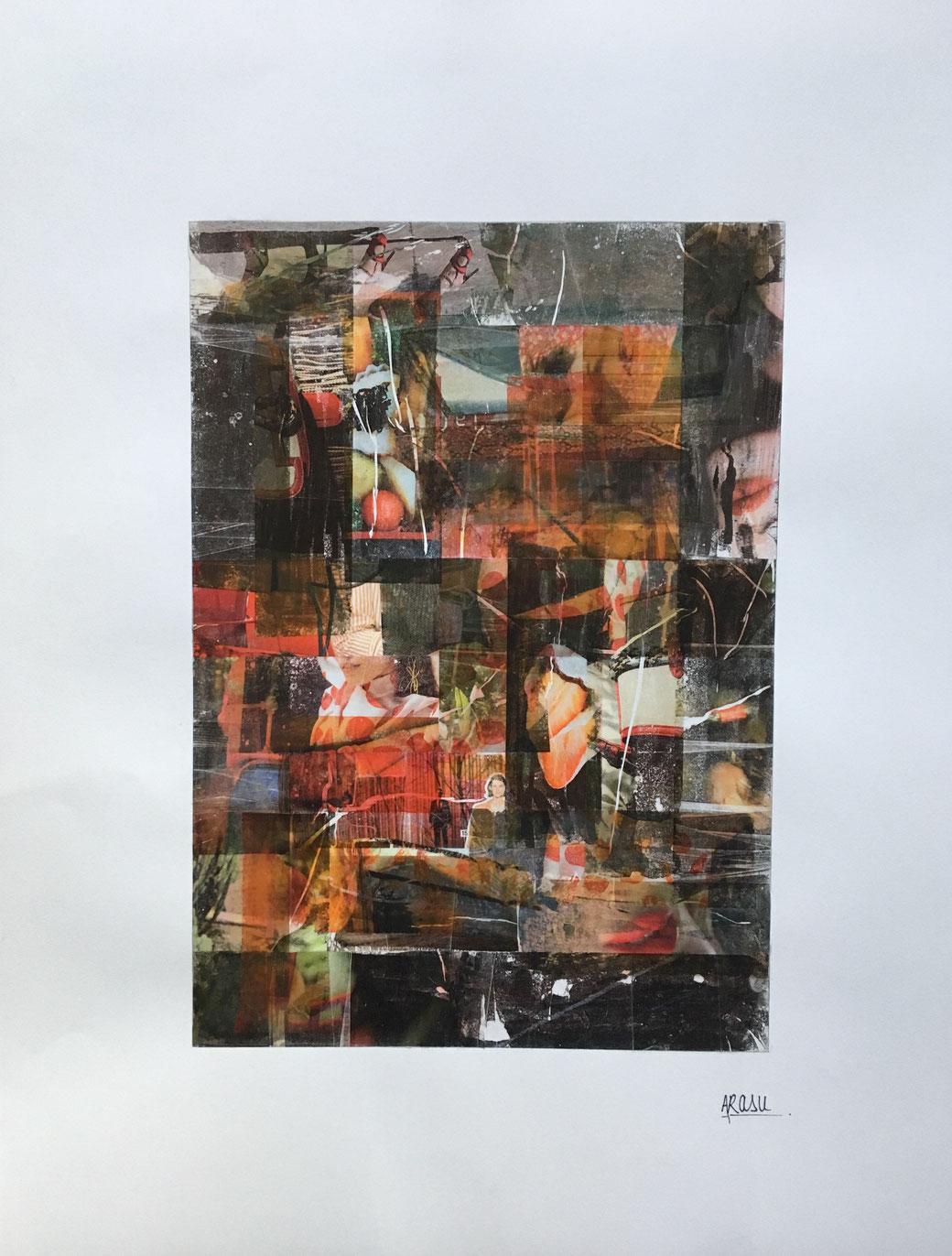 Jeux interdits, collage sur papier format RAISIN (65x50 cm)-2018-110€. (16)