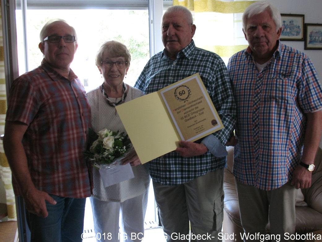 Foto:IG BCE Ortsgruppe Gladbeck-Süd; Glückwünsche zur Diamantene-Hochzeit