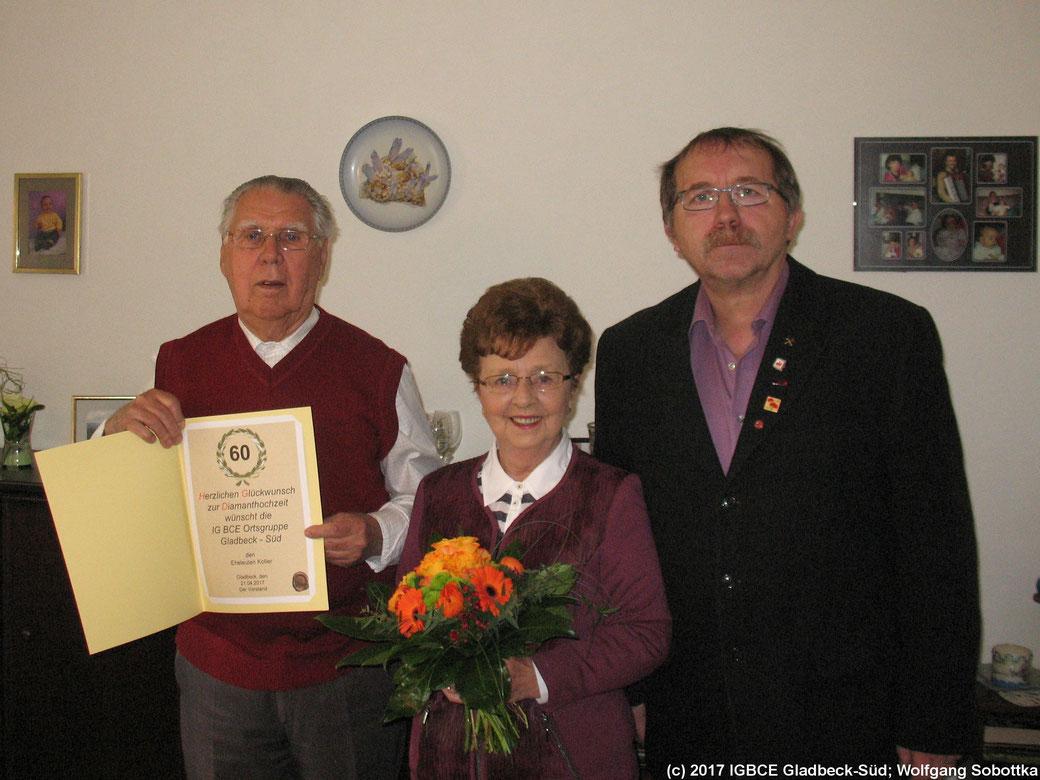 Glückwünsche zur Diamantenen- Hochzeit an Familie Hildegrart und Günter Koller