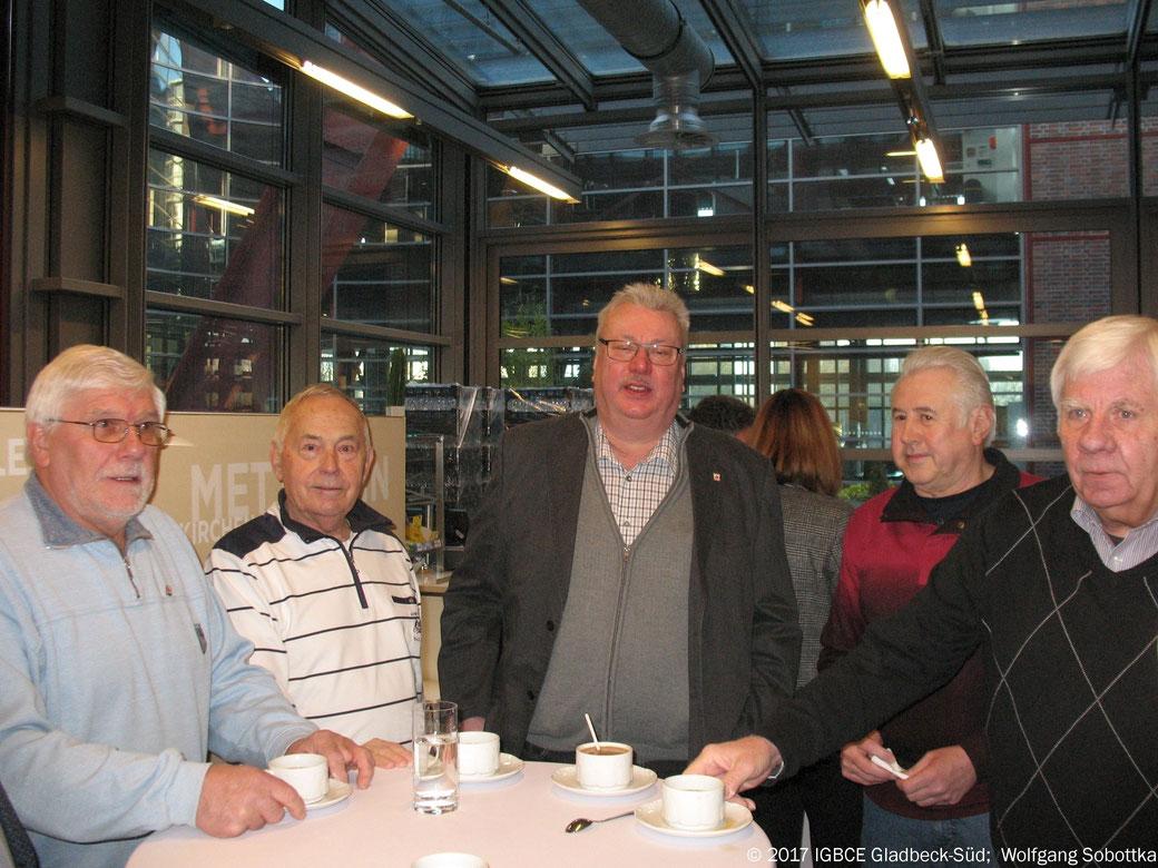 Foto: Neujahrsempfang IG BCE Bezirk Gelsenkirchen  2017, IG BCE OG Gladbeck-Süd, G.Vosmik, KH Meise, A Altkemper, S Bronsart,  W.Last