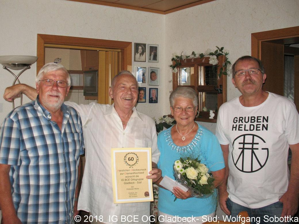 Foto: IG BCE Gladbeck-Süd; Glückwünsche zur Diamantene Hochzeit