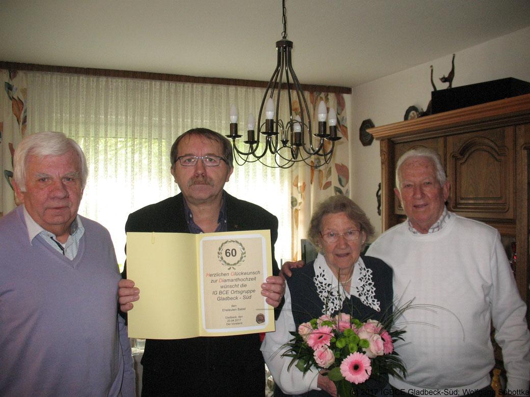 Glückwünsche zur Diamanten-Hochzeit Familie Edith und Johann Babel