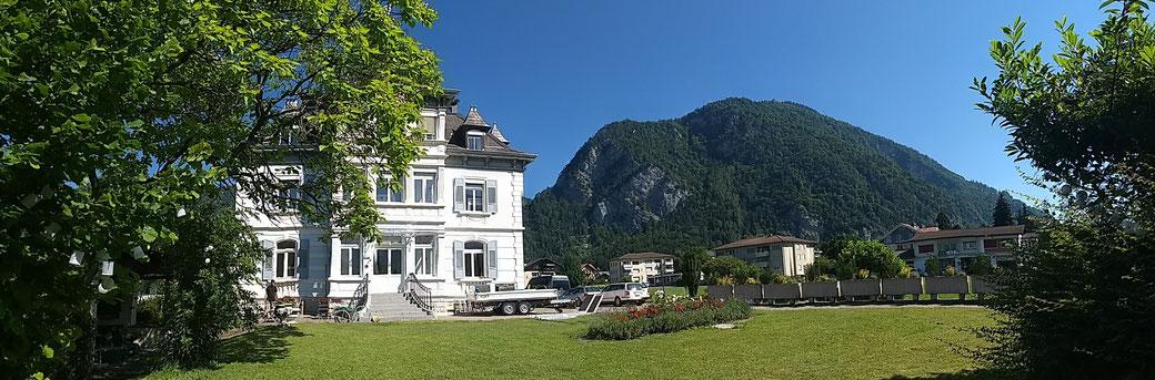 Harder Kulm view from the garden of the Adventure hostel Interlaken